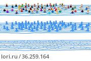 Crowd of small symbolic 3d figures linked by lines, long system variants... Стоковое фото, фотограф Zoonar.com/Viktors Ignatenko / easy Fotostock / Фотобанк Лори