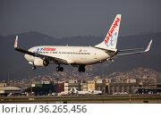 Airline AirEuropa plane comes in for a landing in an aeroport El Prat city of Barcelona (2020 год). Редакционное фото, фотограф Яков Филимонов / Фотобанк Лори