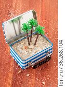 Kleiner Koffer mit Sand und Palmen, Reisekonzept, Strandurlaub. Стоковое фото, фотограф Zoonar.com/Barbara Neveu / easy Fotostock / Фотобанк Лори