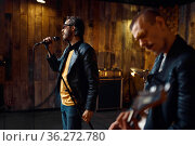 Two artists, music performing on stage in bar. Стоковое фото, фотограф Tryapitsyn Sergiy / Фотобанк Лори
