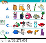 Cartoon illustration of finding pictures starting with referred letter... Стоковое фото, фотограф Zoonar.com/Igor Zakowski / easy Fotostock / Фотобанк Лори