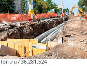 Samara, Russia - September 1, 2018: Replacement of heating pipes and... Стоковое фото, фотограф Zoonar.com/Alexander Blinov / easy Fotostock / Фотобанк Лори