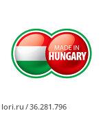 Hungary flag, vector illustration on a white background. Стоковое фото, фотограф Zoonar.com/Aleksey Butenkov / easy Fotostock / Фотобанк Лори