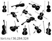 Violin musical instrument vector design element set. Стоковое фото, фотограф Zoonar.com/Viktors Ignatenko / easy Fotostock / Фотобанк Лори