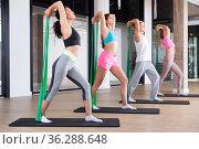 Young adults training pilates with elastic strap. Стоковое фото, фотограф Яков Филимонов / Фотобанк Лори