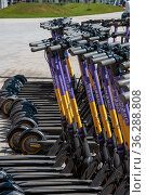 Krasnogorsk, Russia - July 22. 2021 Short-term rental service for electric scooters Urent (2000 год). Редакционное фото, фотограф Володина Ольга / Фотобанк Лори