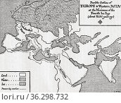 Map of the possible outline of Europe and Western Asia at the maximum... Стоковое фото, фотограф Classic Vision / age Fotostock / Фотобанк Лори