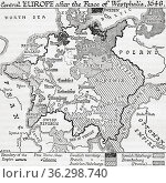 Map of Central Europe after the Peace of Westphalia, 1648. From A... Стоковое фото, фотограф Classic Vision / age Fotostock / Фотобанк Лори