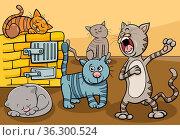 Cartoon illustration of funny cats comic animal characters group. Стоковое фото, фотограф Zoonar.com/Igor Zakowski / easy Fotostock / Фотобанк Лори