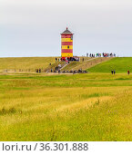 The Pilsum Lighthouse around Krummhoern in East Frisia, Germany. Стоковое фото, фотограф Zoonar.com/Achim Prill / easy Fotostock / Фотобанк Лори