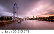 LONDON, UNITED KINGDOM - OCTOBER 6, 2014: London Eye and Westminster... Стоковое фото, фотограф Zoonar.com/Andrey Omelyanchuk / age Fotostock / Фотобанк Лори