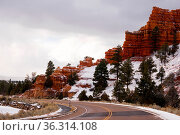 Rock formations of Red Canyon in winter Utah. Стоковое фото, фотограф Zoonar.com/Christopher Boswell / easy Fotostock / Фотобанк Лори