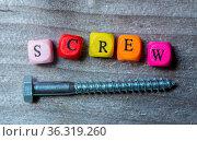 Screw Buchstabenwürfel und Schraube auf grauem Holz visualisierung. Стоковое фото, фотограф Zoonar.com/WSF / easy Fotostock / Фотобанк Лори