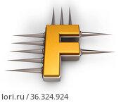 Der buchstabe f mit stacheln - 3d illustration. Стоковое фото, фотограф Zoonar.com/jörg röse-oberreich / easy Fotostock / Фотобанк Лори