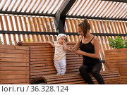 Young mom with her toddler daughter playing on a park bench. Стоковое фото, фотограф Евгений Харитонов / Фотобанк Лори
