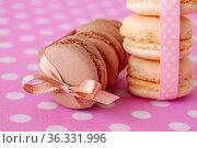 Macaroni cakes with vanilla and chocolate filling. Стоковое фото, фотограф Анна Гучек / Фотобанк Лори
