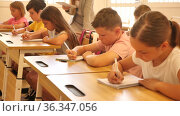 Diligent tweens studying in classroom, listening to lecturer and writing in notebooks. Стоковое видео, видеограф Яков Филимонов / Фотобанк Лори