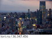 ARK Hills as seen from the Tokyo Tower at night time. Tokyo. Japan (2019 год). Редакционное фото, фотограф Serg Zastavkin / Фотобанк Лори