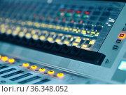 Mixing console, buttons closeup, audio mixer. Стоковое фото, фотограф Tryapitsyn Sergiy / Фотобанк Лори