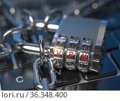 VPN network security internet privacy encryption concept. Lock with VPN code on laptop keyboard. Стоковое фото, фотограф Maksym Yemelyanov / Фотобанк Лори