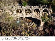architectural and cultural attraction in Jardins Artigas in La Pobla de Lillet in Spain. Редакционное фото, фотограф Яков Филимонов / Фотобанк Лори