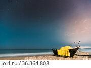 Goa, India. Real Night Sky Stars. Natural Starry Sky Blue Color Above... Стоковое фото, фотограф Ryhor Bruyeu / easy Fotostock / Фотобанк Лори