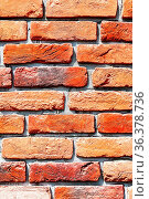 Old weathered red brick wall as background texture. Bricks masonry... Стоковое фото, фотограф Zoonar.com/Alexander Blinov / easy Fotostock / Фотобанк Лори