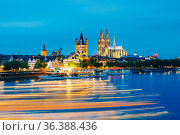 Great St. Martin Church And Dom In Cologne At Evening With Reflection... Стоковое фото, фотограф Ryhor Bruyeu / easy Fotostock / Фотобанк Лори