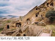 Sagarejo Municipality, Kakheti Region, Georgia. Ancient Rock-hewn... Стоковое фото, фотограф Ryhor Bruyeu / easy Fotostock / Фотобанк Лори