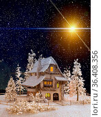 Christmas and new Year greeting card with a picture of a fairy house... Стоковое фото, фотограф Zoonar.com/Galina Tolochko / easy Fotostock / Фотобанк Лори