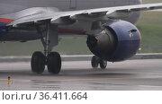 Airplane departing flight Aeroflot. Редакционное видео, видеограф Игорь Жоров / Фотобанк Лори