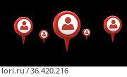 Map pin and profile icons 4k. Стоковое фото, агентство Wavebreak Media / Фотобанк Лори