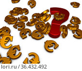 Viele eurosymbole und ein fragezeichen liegen auf weißer fläche -... Стоковое фото, фотограф Zoonar.com/jörg röse-oberreich / easy Fotostock / Фотобанк Лори