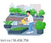 Plants watering 2D vector web banner, poster. Man holding watering... Стоковое фото, фотограф Zoonar.com/Natalia Nesterenko / easy Fotostock / Фотобанк Лори