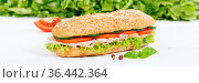 Sandwich Baguette Vollkorn Brötchen belegt mit Schinken Banner auf... Стоковое фото, фотограф Zoonar.com/Markus Mainka / easy Fotostock / Фотобанк Лори