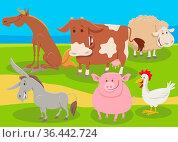 Cartoon illustration of happy farm animal characters group in the... Стоковое фото, фотограф Zoonar.com/Igor Zakowski / easy Fotostock / Фотобанк Лори