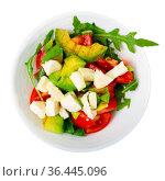 Fresh summer salad with vegetables and cheese. Стоковое фото, фотограф Яков Филимонов / Фотобанк Лори