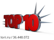 Top 10 - schrift mit stacheln - 3d rendering. Стоковое фото, фотограф Zoonar.com/jörg röse-oberreich / easy Fotostock / Фотобанк Лори