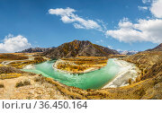 Panorama of the confluence of the Katun and Chuya rivers against the background of mountain peaks. The Altai Republic. Russia. Стоковое фото, фотограф Наталья Волкова / Фотобанк Лори