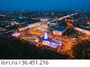 Gomel, Belarus. Main Christmas Tree And Festive Illumination On Lenin... Стоковое фото, фотограф Ryhor Bruyeu / easy Fotostock / Фотобанк Лори
