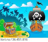 Image with pirate vessel theme 3 - picture illustration. Стоковое фото, фотограф Zoonar.com/Klara Viskova / easy Fotostock / Фотобанк Лори