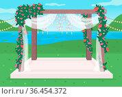 Luxurious outdoor wedding venue flat color vector illustration. Luxurious... Стоковое фото, фотограф Zoonar.com/Natalia Nesterenko / easy Fotostock / Фотобанк Лори