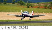Light aircraft landing on aerodrome runway. Стоковое фото, фотограф Яков Филимонов / Фотобанк Лори