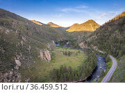 Poudre River and Canyon - aerial view with late spring scenery. Стоковое фото, фотограф Zoonar.com/Marek Uliasz / easy Fotostock / Фотобанк Лори