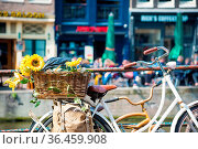 Spring view of old bicycle with flowers on a canal bridge in the Dutch... Стоковое фото, фотограф Zoonar.com/Yuri Dmitrienko / easy Fotostock / Фотобанк Лори