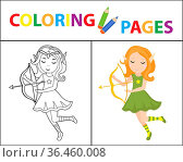 Coloring book page for kids. Forest elf with a bow. Sketch outline... Стоковое фото, фотограф Zoonar.com/Svetlana Borokh / easy Fotostock / Фотобанк Лори