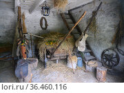 Reconstructed view of a 19th-century peasant stable with a cart and horse harness in the city of Pyatigorsk, Russia. Стоковое фото, фотограф Сергей Фролов / Фотобанк Лори
