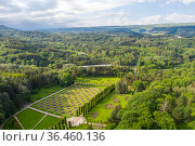 Aerial view of the chess order of the Valley of Roses in the park in the city of Kislovodsk, Caucasus, Russia. Стоковое фото, фотограф Сергей Фролов / Фотобанк Лори