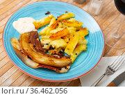 Fried pork with potatoes. Стоковое фото, фотограф Яков Филимонов / Фотобанк Лори