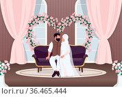 Islam newlyweds flat color vector illustration. Bride and groom on... Стоковое фото, фотограф Zoonar.com/Natalia Nesterenko / easy Fotostock / Фотобанк Лори